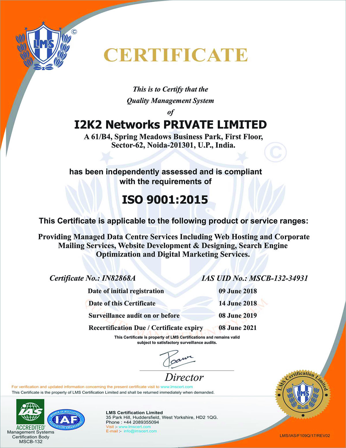 Quality Managemnt System Certificate